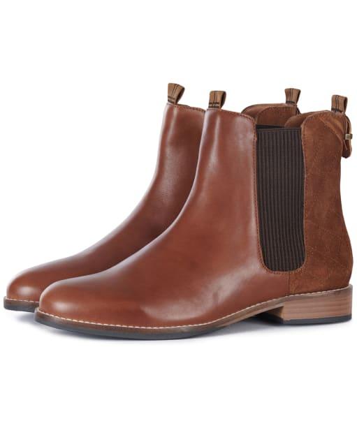 Women's Barbour Badminton Chelsea Boots - Tan Leather / Suede