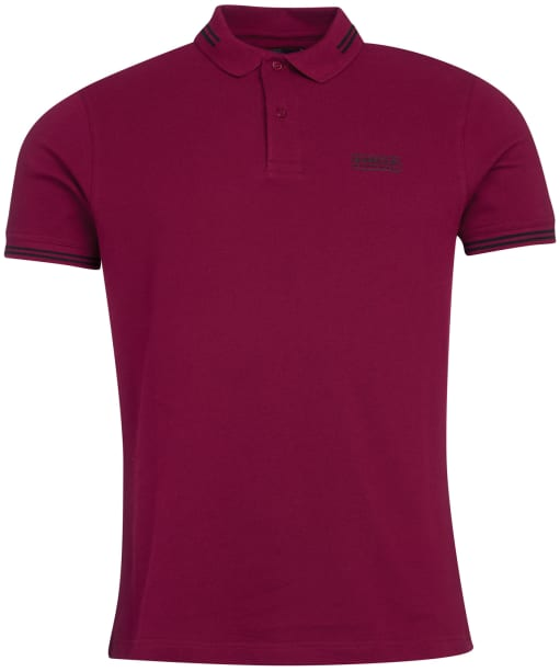 Men's Barbour International Essential Tipped Polo Shirt - Berry