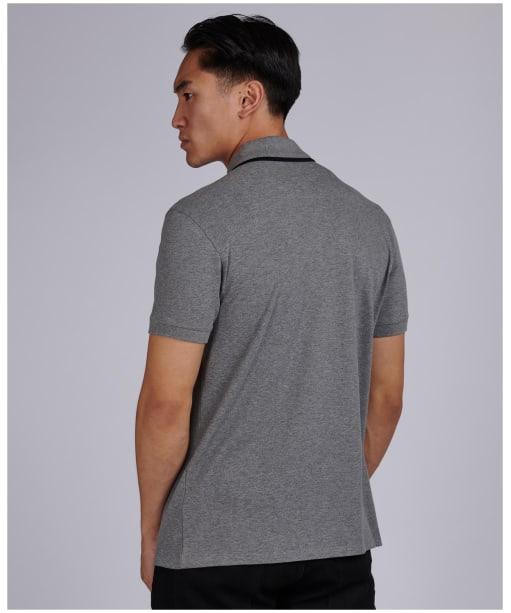 Men's Barbour International Block Stripe Polo Shirt - Anthracite Marl