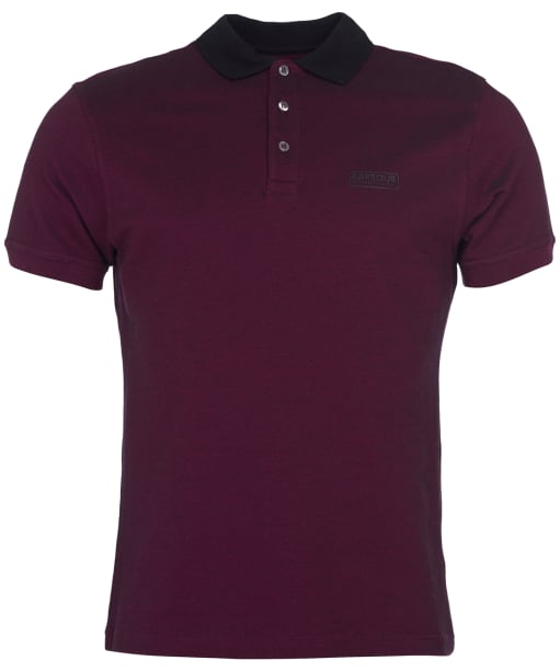 Men's Barbour International Contrast Polo Shirt - Berry / Black