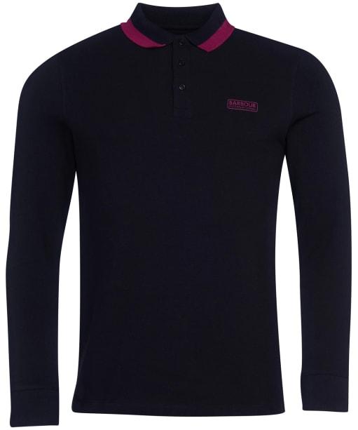 Men's Barbour International Engine L/S Polo Shirt - Black