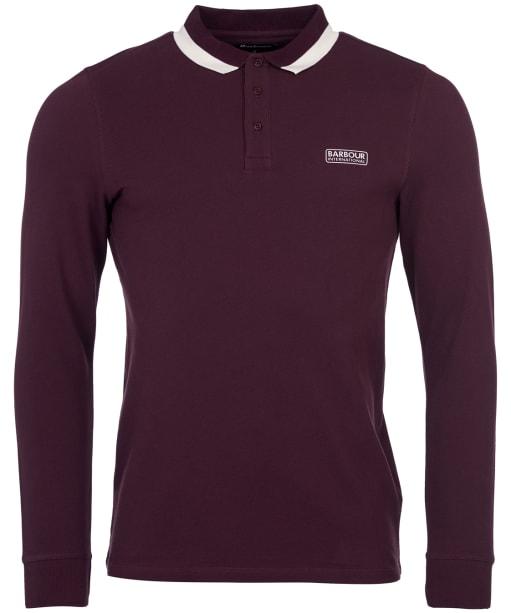 Men's Barbour International Engine L/S Polo Shirt - Dark Burgundy