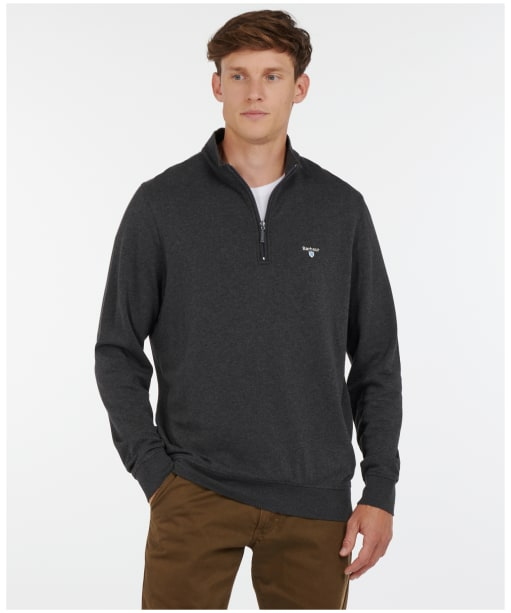 Men's Barbour Batten Half Zip Sweater - Charcoal Marl