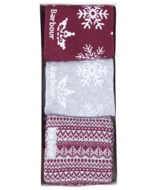 Women's Barbour Father Christmas Sock Giftbox - Carmine