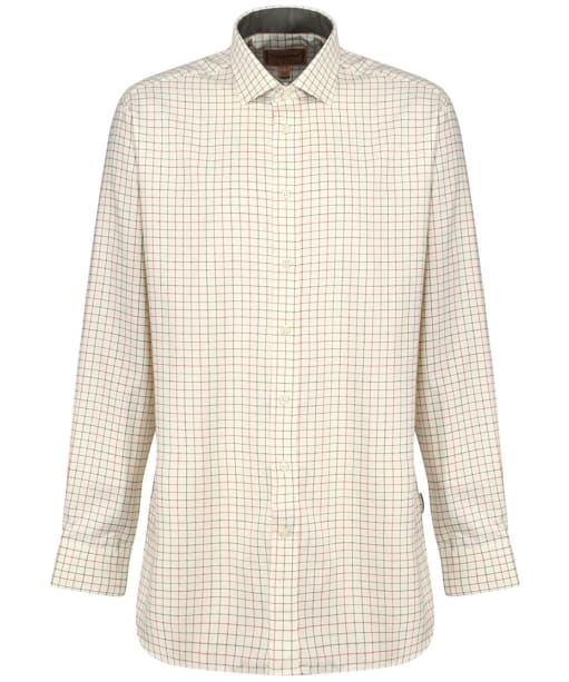 Men's Schoffel Newton Tailored Sporting Shirt - Olive / Brick Check