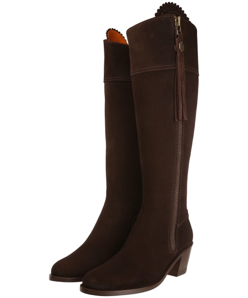 Women's Fairfax & Favor Regina Heeled Sporting Fit Boots - Chocolate Suede