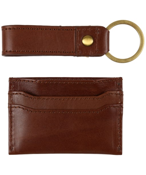 Men's Le Chameau Key Ring & Card Wallet Gift Set - Marron Fonce