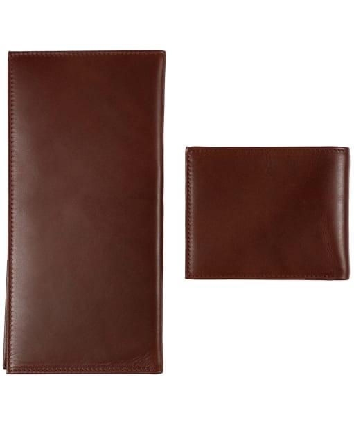 Men's Le Chameau Bifold Wallet & License Wallet Gift Set - Marron Fonce