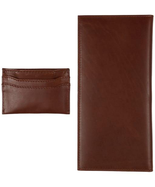 Men's Le Chameau License Wallet & Card Wallet Gift Set - Marron Fonce