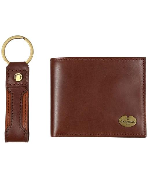Men's Le Chameau Key Ring & Bifold Wallet Gift Set - Marron Fonce