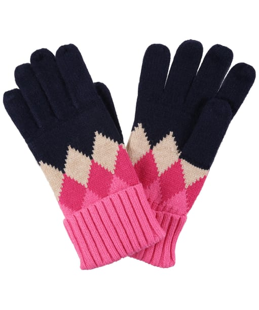 Women's Joules Rothley Gloves - Navy / Pink Argyle