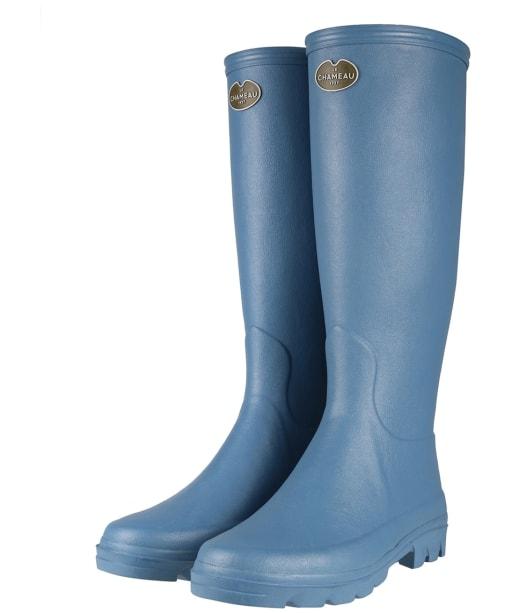 Women's Le Chameau Iris Jersey Lined Boots - Bleu Clair