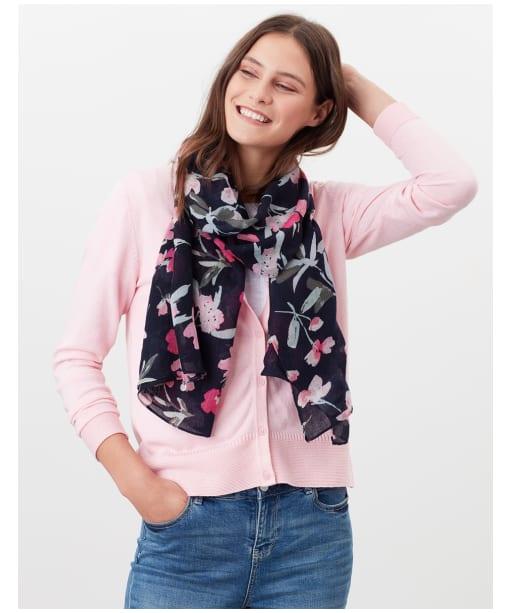 Women's Joules Julianne Wool Scarf - Navy / Pink Floral