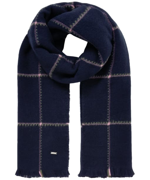 Women's Joules Stamford Scarf - Navy Check