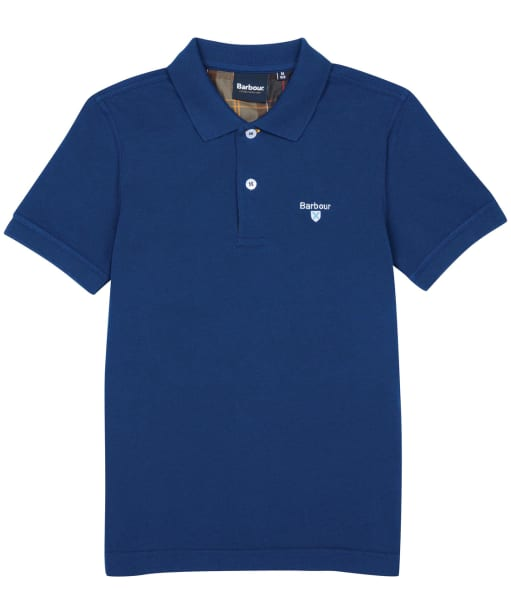 Boy's Barbour Tartan Polo Shirt, 6-9yrs - Deep Blue