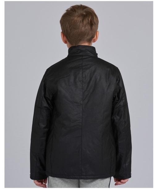 Boy's Barbour International Duke Waxed Jacket, 10-15yrs - Black