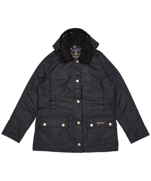 Girls Barbour Hooded Beadnell Wax Jacket – 10-15yrs - Royal Navy