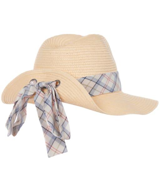 Women's Barbour Lorne Tartan Trimmed Fedora Hat - Cream