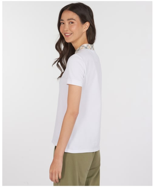Women's Barbour Malvern Polo Shirt - White / Tartan