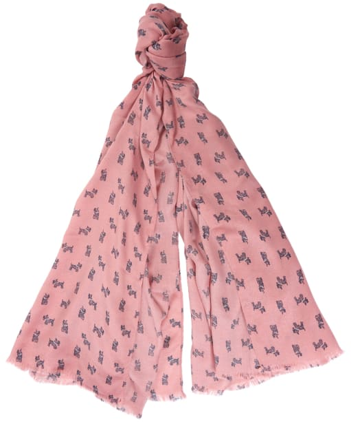 Women's Barbour Dog Print Wrap - Rose Tan