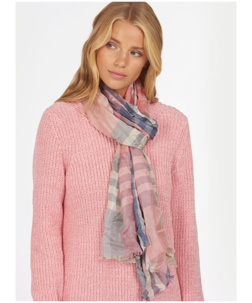 Women's Barbour Tynemouth Check Wrap - Pink / Blue / Mist