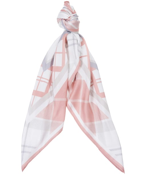 Women's Barbour Tartan Silk Square - Rose / Mist Tartan