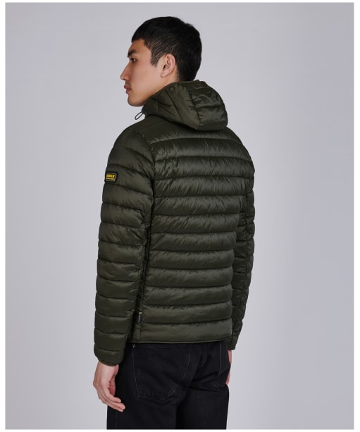 Men's Barbour International Ouston Hooded Quilted Jacket - Olive