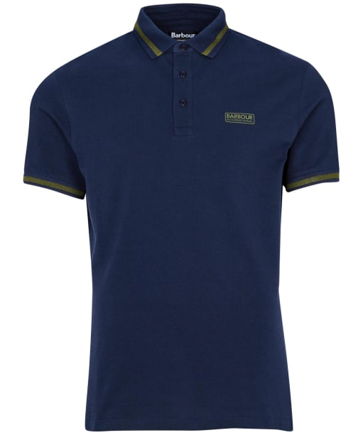 Men's Barbour International Grid Tipped Polo Shirt - Navy