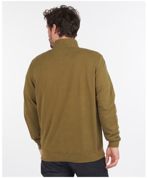 Men's Barbour Bankside Half Zip Sweater - Dark Olive