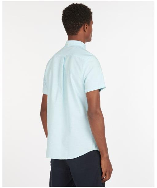 Men's Barbour Oxford 3 Short Sleeved Tailored Shirt - Light Aqua