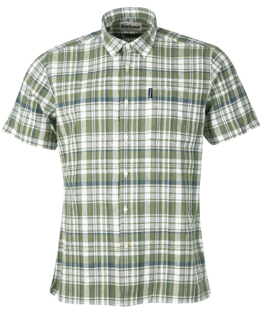 Men's Barbour Linen Mix 2 S/S Summer Shirt - Olive