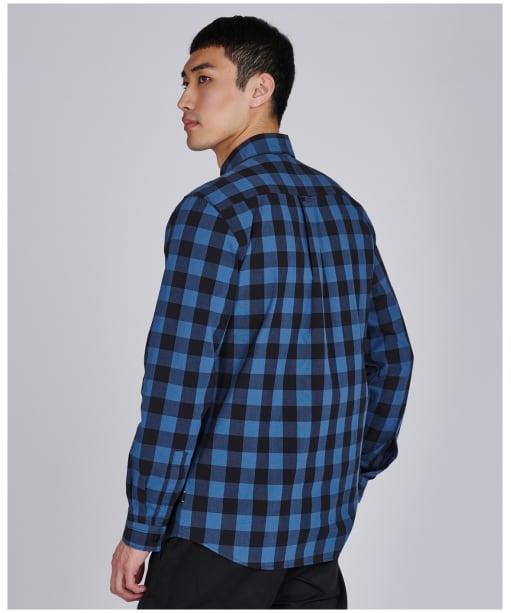 Men's Barbour International Bold Block Check Shirt - Mid Blue Check