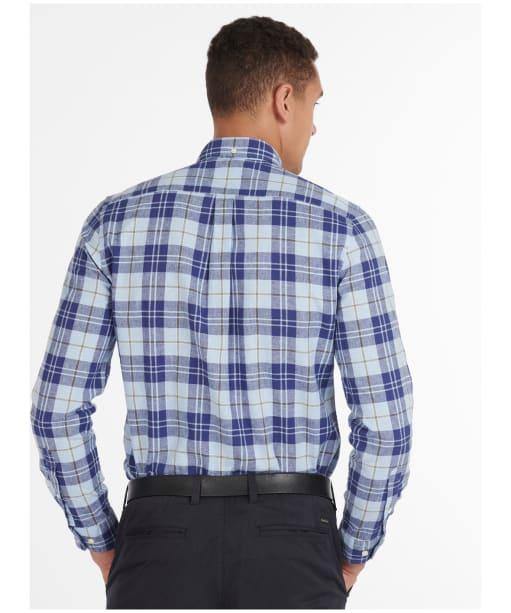 Men's Barbour Linen Mix 6 Tailored Shirt - Sky Blue Check