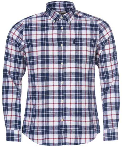 Men's Barbour Linen Mix 6 Tailored Shirt - White Check