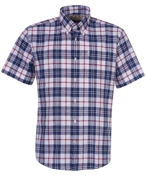 Men's Barbour Linen Mix 6 Regular Fit S/S Shirt - White Check
