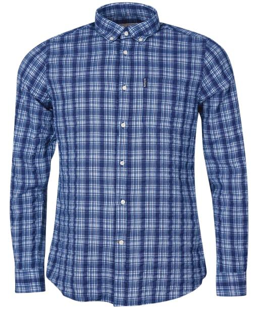 Men's Barbour Seersucker 9 Tailored Shirt - Inky Blue Check