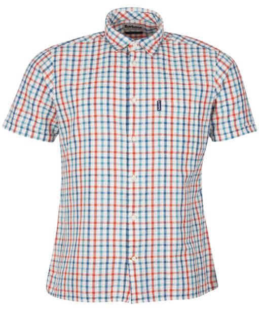 Men's Barbour Seersucker 7 S/S Summer Shirt - Aqua Check