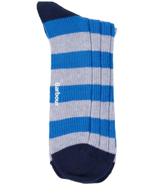 Men's Barbour Ribbed Stripe Socks - Light Grey Marl / Blue