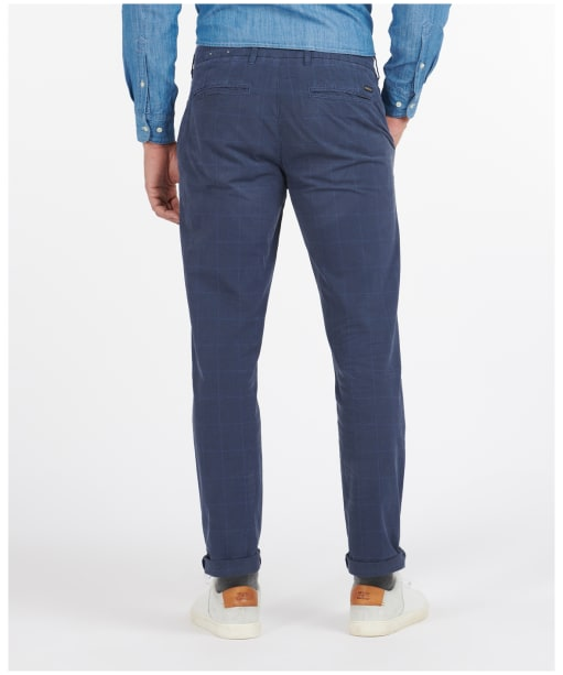 Men's Barbour Essential Overdyed Check Trousers - Mid Blue