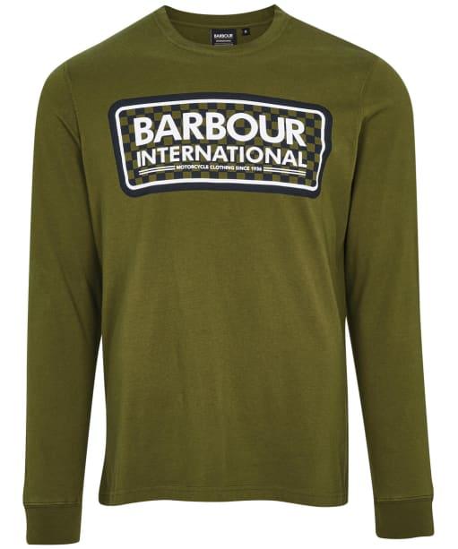 Men's Barbour International Grid Logo L/S Tee - Vintage Green