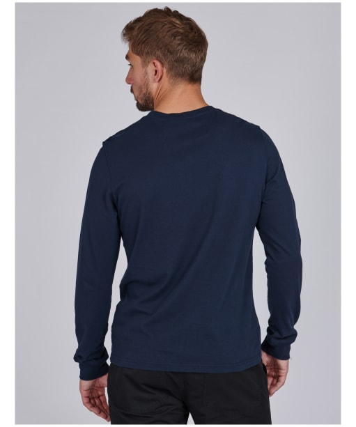 Men's Barbour International Grid Logo L/S Tee - Navy