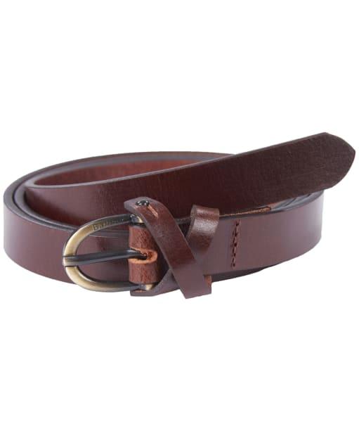 Women's Barbour Cross Over Leather Belt - Dark Brown