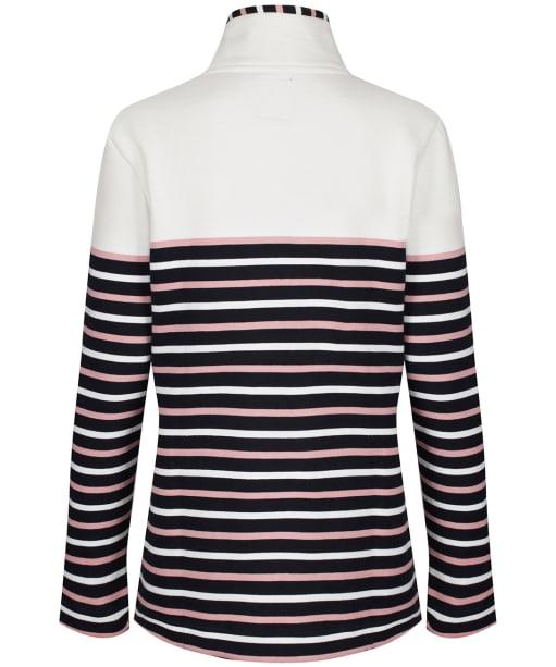 Women's Crew Clothing Half Button Sweatshirt - White / Navy / Pink