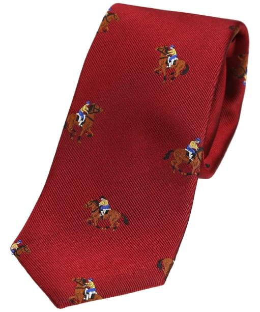 Men's Soprano Horse Racing Woven Tie - Dark Red