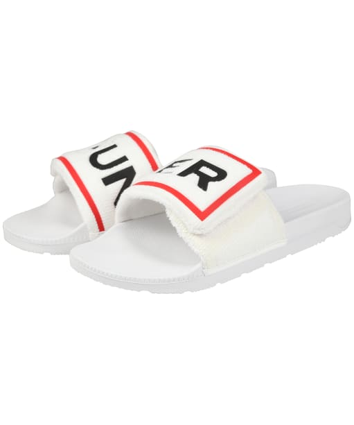 Women's Hunter Original Terry Logo Sliders - White