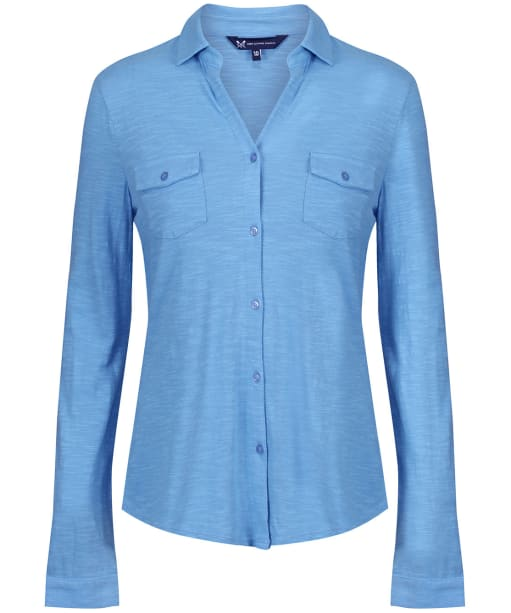 Women's Crew Clothing Jersey Linen Blend Shirt - Serene Blue