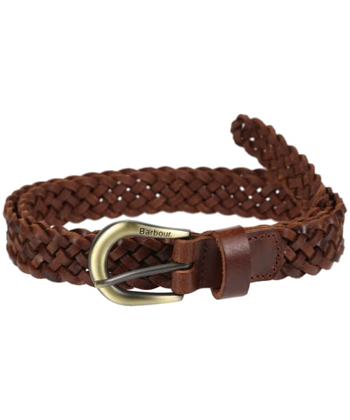 Women's Barbour Plain Braid Leather Belt - Tan