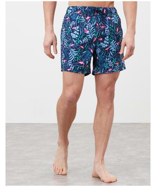 Men's Joules Heston Swim Shorts - Navy Flamingo