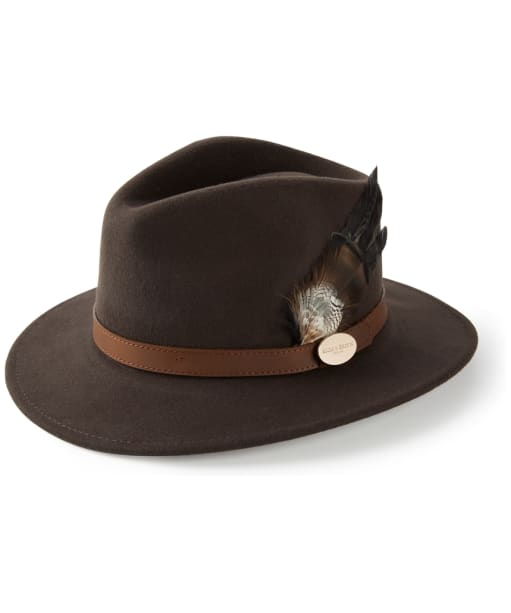 Women's Hicks & Brown Suffolk Fedora – Bronze Duck Feather - Brown