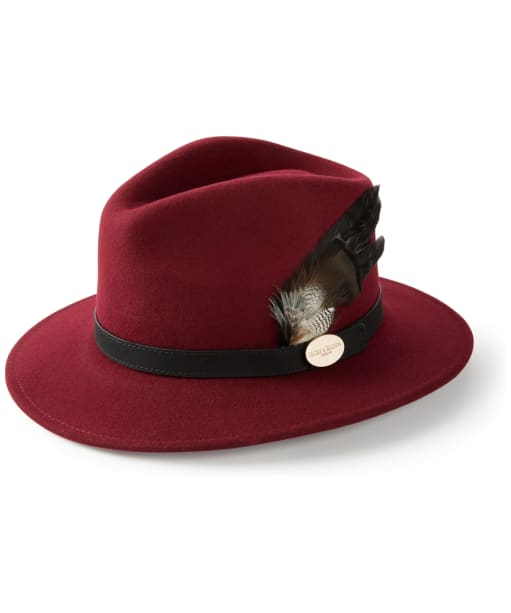 Women's Hicks & Brown Suffolk Fedora – Bronze Duck Feather - Maroon